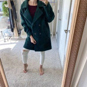 Free People Textured Green Wool Blend Overcoat